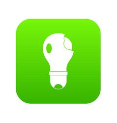 broken lightbulb icon digital green vector image