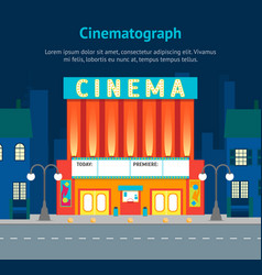 cartoon building cinema on a city landscape vector image vector image
