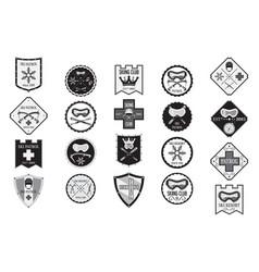 set of flat ski logos ski patrol rental skiing vector image