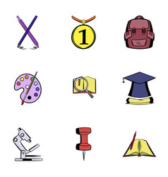 teaching icons set cartoon style vector image vector image