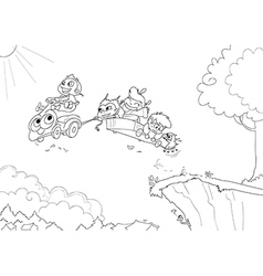 Children driving a flying car -Coloring vector image vector image