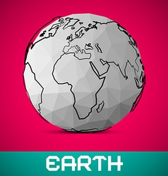 Crumpled Paper Earth - Globe on Pink Backgro vector image vector image