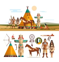 Set of american indian tribal objects vector