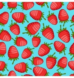 strawberry seamless pattern blue background vector image