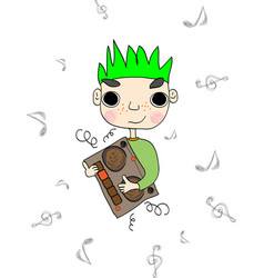 young man dancing at the party with tape recorder vector image