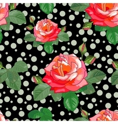 Black Background of Roses and Circles-01 vector image vector image