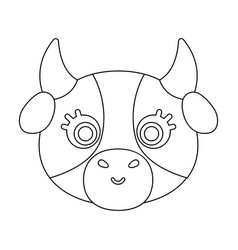 cow muzzle icon in outline style isolated on white vector image vector image