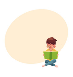 little boy kid in glasses reading book sitting vector image vector image