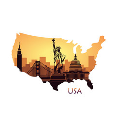 abstract city skyline with sights of the usa at vector image