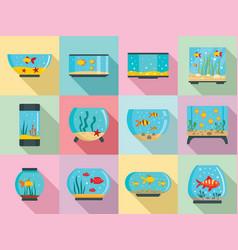 aquarium icon set flat style vector image