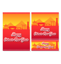assorted size of chinese new year poster vector image
