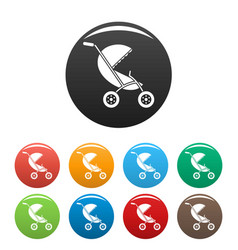 baby stroller icons set color vector image