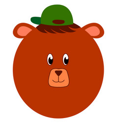 bear with green hat on white background vector image