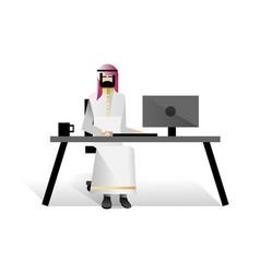Bearded arabic businessman in office vector