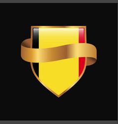 Belgium flag golden badge design vector