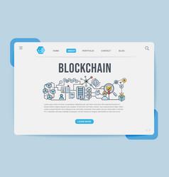 Blockchain landing page web design templates vector