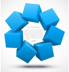 Blue cubes 3D vector image vector image