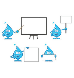 blue water drop characters collection - 3 vector image