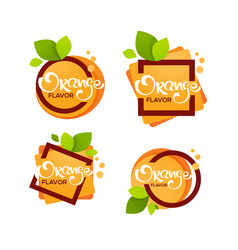 bright sticker emblem and logo for orange citrus vector image