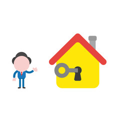 businessman character unlock house keyhole with vector image