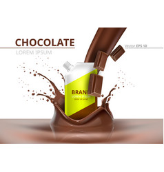 Chocolate package mock up realistic on vector