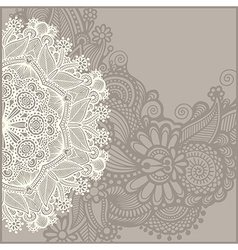 Circle template with floral background vector