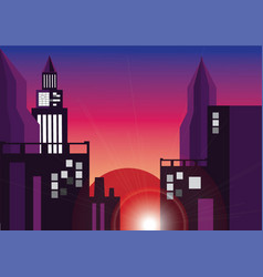 City by night vector