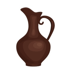 Clay jug of wine icon in cartoon style isolated on vector