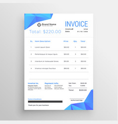 Clean blue abstract low poly shapes invoice vector