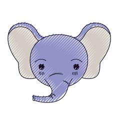 Color crayon silhouette cute face of elephant vector