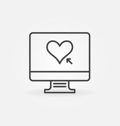 computer with heart linear icon online vector image