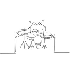 Continuous single line drawing electronic drum vector