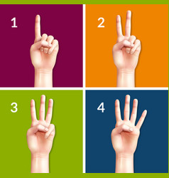 counting hands 2x2 design concept vector image