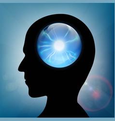 Crystal ball in human head vector