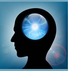 Crystal ball in the human head vector