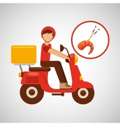 Delivery boy ride motorcycle salmon japan vector
