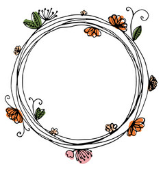 Design of wreath with flowers and butterfly vector