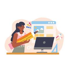 Designer in design studio working vector
