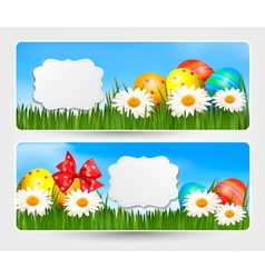 Easter banners with Easter eggs and colorful vector image