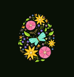 easter egg floral decoration black vector image