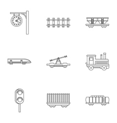 Electrical train icons set outline style vector