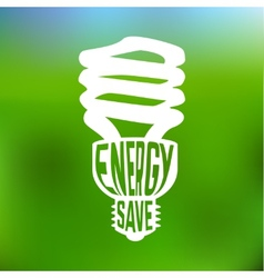 Energy save concept poster with lightbulb vector image