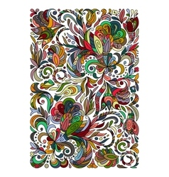 Ethnic colored floral entangle doodle background vector