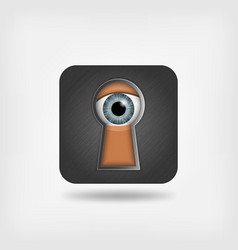 Eye in keyhole peeping man vector