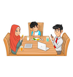 Family Eat Together Parents are Busy with Gadget vector