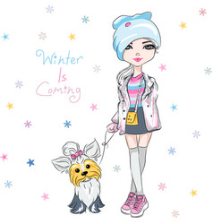 Fashion girl with dog vector