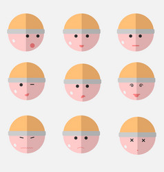 flat emotions faces vector image