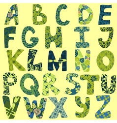 funny alphabet made patches for scrapbooking vector image
