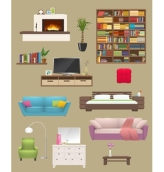 Furniture Elements Interior Set vector image