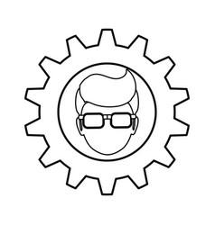 gear frame male faceless glasses vector image